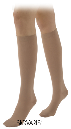 Sigvaris Unisex Calf High Cotton Compression Stockings (Open Toe)