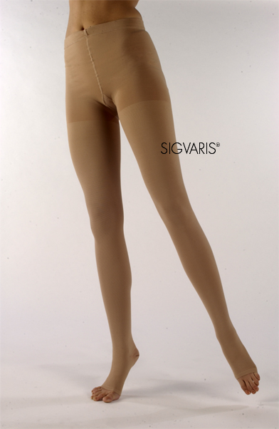 Sigvaris Unisex Natural Rubber Compression Pantyhose - 30-40 mmHg-OPEN TOE