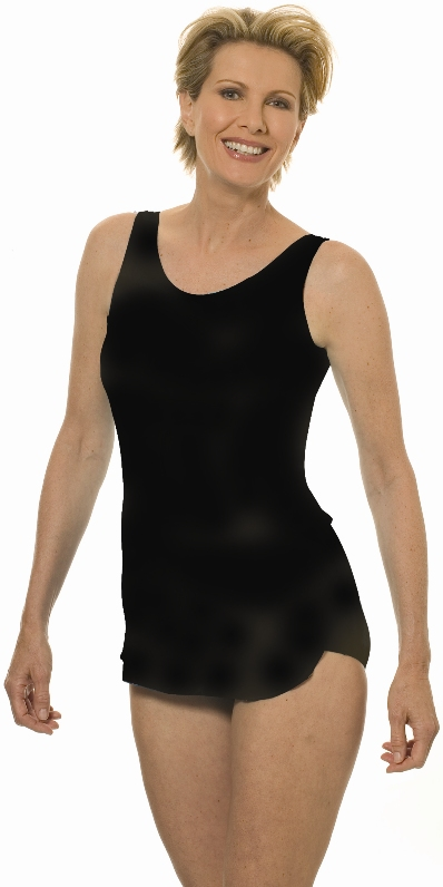 Jodee Solid Black Sarong Swimdress - Womens (Soft Cup)