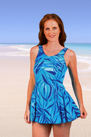 Jodee Martinique Blue Mastectomy Swimdress - Misses (Soft Cup)