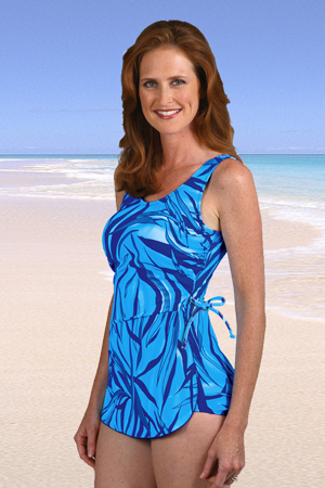 Jodee Martinique Blue Mastectomy Sarong- Misses (Soft Cup)- DISCONTINUED STYLE