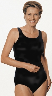 Jodee Solid Black Mastectomy Swimsuit (Soft Cup)