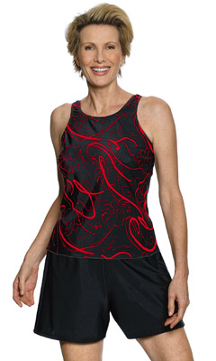 Jodee Black & Red 2-Piece Tankini (Soft Cup)