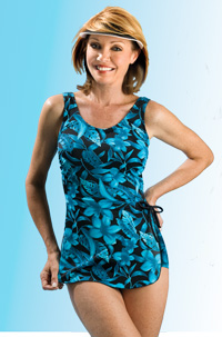 Jodee Beautiful Blue Floral Sarong Swimsuit (Soft Cup)