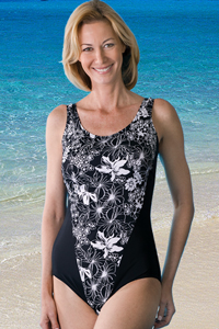 Jodee Black & White Swimsuit (Soft Cup)
