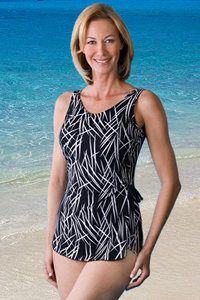 Jodee Black & White Sarong Swimsuit (Soft Cup)