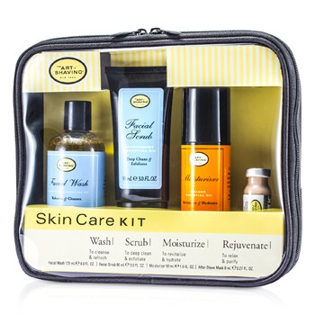 The Art Of Shaving Skincare Kit (For Sensitive Skin): Facial Wash + Facial Scrub + Moisturizer + After Shave Mask