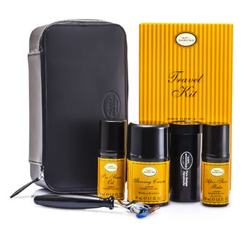 The Art Of Shaving Travel Kit (Lemon): Razor+ Shaving Brush+ Pre-Shave Oil 30ml+ Shaving Cream 45ml+ A/S Balm 30ml+ Case