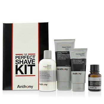 Anthony Logistics For Men The Perfect Shave Kit: Cleanser + Pre-Shave Oil + Shave Cream + After Shave Cream + Bag