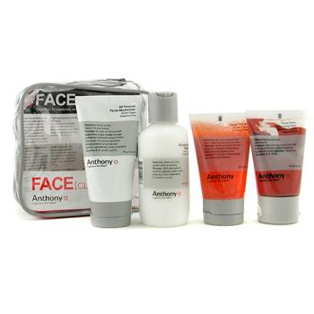 Anthony Logistics For Men Face Kit: Cleanser + Scrub + Cleansing Clay + Moisturizer + Bag