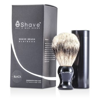 EShave Travel Brush Silvertip With Canister - Black