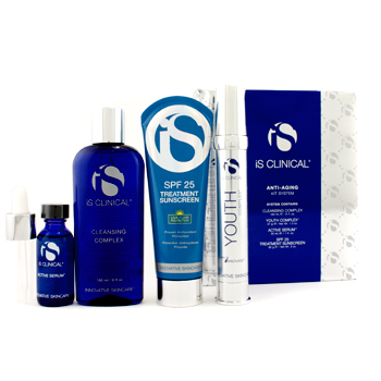 IS Clinical Anti-Aging Kit System: Cleansing Complex + Youth Complex + Active Serum + Treatment Sunscreen