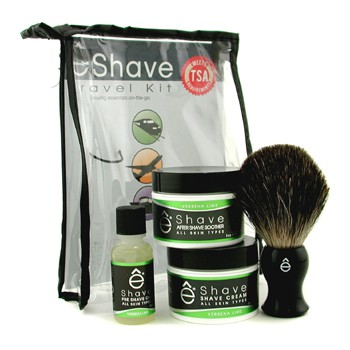 EShave Verbena Lime Travel Kit: Pre Shave Oil + Shave Cream + After Shave Smoother + Brush + TSA Bag