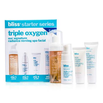 Bliss Triple Oxygen Starter Kit: Cleansing Foam 50ml + Mask 10ml + Eye Gel 5ml + Energizing Cream 15ml