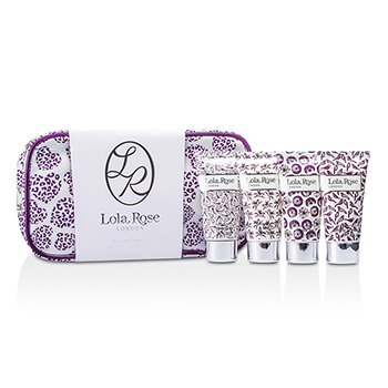 Lola Rose Calming Amethyst Travel Set: Shower Cream + Body Lotion + Hand & Nail Cream + Bubble Bath + Bag