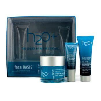 H2O+ Face Oasis Daily Hydration System: Hydrating Treatment 50ml + Exfoliating Cleanser 30ml + Eye Moisture Replenishing Treatment 7ml (For Normal/ Oily Skin)