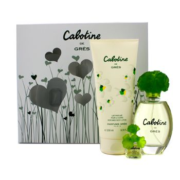 Gres Cabotine Coffret: Eau De Toilette Spray 100ml/3.4oz + Body Lotion 200ml/6.76oz + Miniature (Hearts Box)
