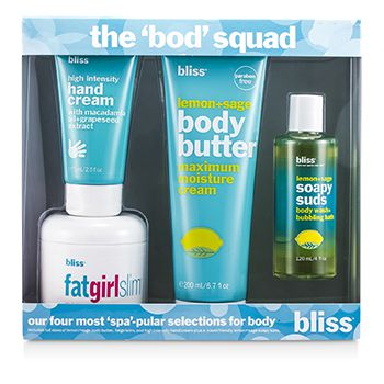 Bliss The Bod Squad Set: Body Butter 200ml + Soapy Suds 120ml + Fat Girl Slim 170.5g + Hand Cream 75ml