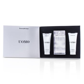 Ermenegildo Zegna Uomo Coffret: Eau De Toilette Spray 100ml/3.4oz + After Shave Balm 100ml/3.4oz + Hair & Body Wash 100ml/3.4oz