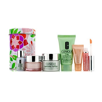 Clinique Travel Set: 7 Day Scrub 30ml + Repairwear Uplifting 15ml + Moisture Surge Intense 15ml + Repairwear Laser Focus 7ml + All About Eyes Serum 5ml + Lipgloss #10