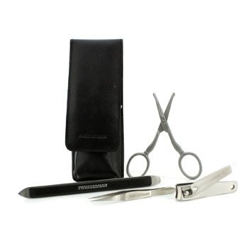 Tweezerman Essential Grooming Kit: Fingernail Clipper + Facial Hair Scissors + Nail Cleaner + Splinter Removal