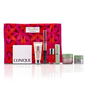 Clinique Travel Set: Moisture Surge + CC Cream + Eye Cream + Makeup Palette + Mascara & Lipgloss + Lipstick #15 + Nail Polish + Bag