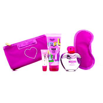 Moschino Pink Bouquet Coffret: Eau De Toilette Spray 100ml/3.4oz + Body Lotion 100ml/3.4oz + Lipgloss 10ml/0.3oz + Sleep Mask
