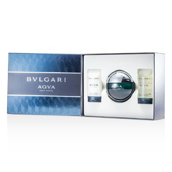 Bvlgari Aqva Pour Homme Coffret: Eau De Toilette Spray 100ml/3.4oz + Shampoo & Shower Gel 75ml/2.5oz + After Shave Emulsion 75ml/2.5oz