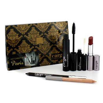 Cargo Lets Meet In Paris Holiday Kit: 1x Lip Color, 1x Eye Pencil, 1x Lip Primer, 1x Lip Liner, 1x Mascara