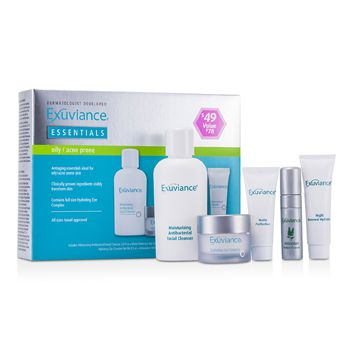 Exuviance Essentials Kit (Oily/ Acne Prone): Facial Cleanser + Eye Complex + Matte Perfection + HydraGel + Perfect 10 Serum