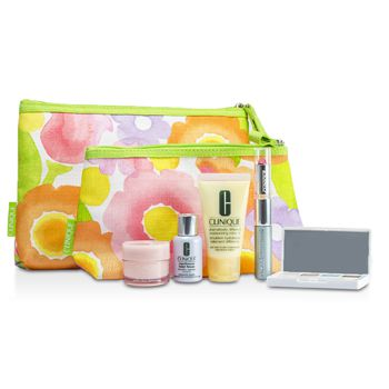 Clinique Travel Set: DDML+ + Moisture Surge + Laser Focus + Eye Shadow Quad #03, 20, 23, 38 + Mascara & Lipstick #43 + 2xBag