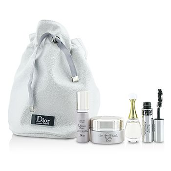Christian Dior Travel Set: Capture Totale Cream 15ml + Dreamskin 7ml + JAdore EDP 5ml + Mascara 4ml + Bag