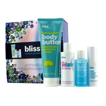 Bliss Crown Jewels Set: Body Butter 200ml + Love Handler 118ml + Triple Oxygen Instant Energizing Mask 15ml + Face Wash 60ml