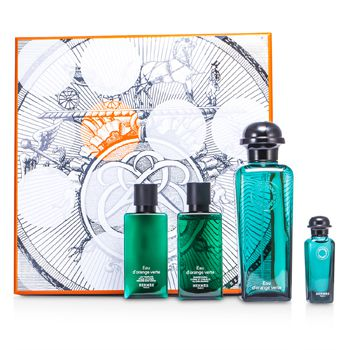 Hermes DOrange Verte Coffret: Eau De Cologne Spray 100ml/3.3oz + Miniature 7.5ml/0.25oz + Bady Lotion 40ml/1.35oz + All Over Shampoo 40ml/1.35oz