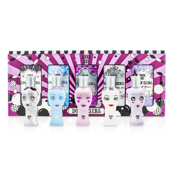 Anna Sui Dolly Girl Miniature Coffret: (Dolly Girl, Lils Starlet, On the Beach, Ooh La Love, Bonjour LAmour)