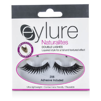 Eylure Naturalites False Lashes - 206 Double Lashes Black (Adhesive Included)