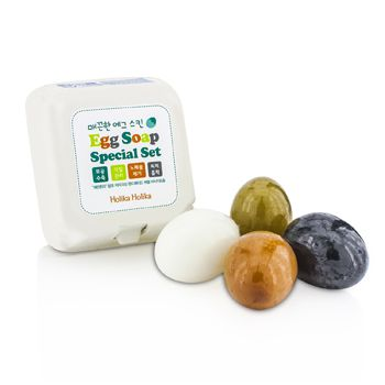 Holika Holika Egg Skin Soap Special Set: Charcoal Egg + White Egg + Red Clay Egg + Green Tea Egg