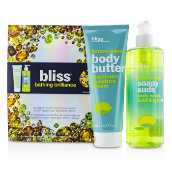 Bliss Bathing Brilliance Set: Lemon+Sage Soapy Suds 473.2ml/16oz + Body Butter 200ml/6.7oz