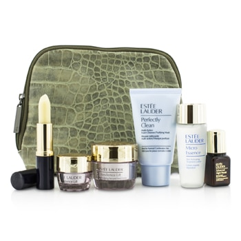 Estee Lauder Travel Set: Perfectly Clean 30ml + Micro Essence 30ml + Resilience Lift Creme 15ml + Eye Cream 5ml + ANR II 7ml + Lip Conditioner + Bag