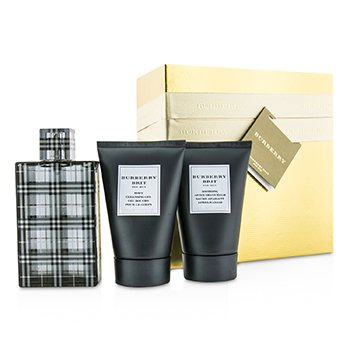 Burberry Brit Coffret: Eau De Toilette Spray 100ml/3.3oz + Body Cleansing Gel 100ml/3.3oz + After Shave Balm 100ml/3.3oz (Gold Box)