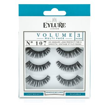 Eylure Volume False Lashes Multipack - 107 Black (Adhesive Included)