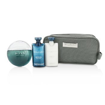 Bvlgari Aqva Pour Homme Coffret: Eau De Toilette Spray 100ml/3.4oz + Shampoo & Shower Gel 75ml/2.5oz + After Shave Balm 75ml/2.5oz + Pouch