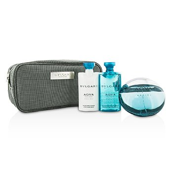 Bvlgari Aqva Pour Homme Marine Coffret: Eau De Toilette Spray 100ml/3.4oz + Shower Gel 75ml/2.5oz + After Shave Balm 75ml/2.5oz + Pouch