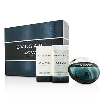 Bvlgari Aqva Pour Homme Coffret: Eau De Toilette Spray 50ml/1.7oz + After Shave Emulsion 75ml/2.5oz + Shower Gel 75ml/2.5oz
