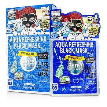 Dewytree 3 Step Black Sheet Mask - Aqua Refreshing