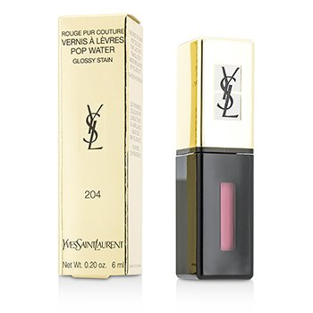 Yves Saint Laurent Rouge Pur Couture Vernis A Levres Pop Water Glossy Stain - #204 Onde Rose