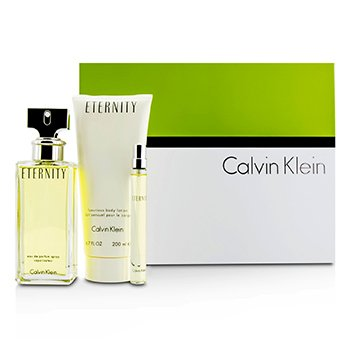Calvin Klein Eternity Coffret: Eau De Parfum Spray 100ml/3.4oz + Body Lotion 200ml/6.7oz + Eau De Parfum 10ml/0.33oz