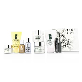 Clinique Travel Set: Cleanser + DDML+ + Repairwear Day Cream + Night Cream + Laser Focus Serum + Eye Cream + Makeup #04 + Mascara