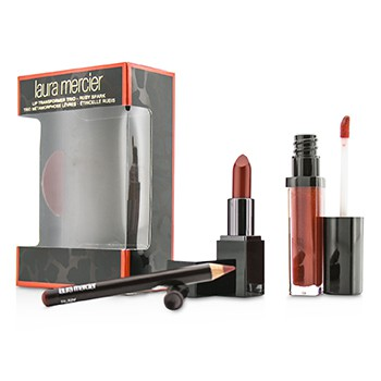 Laura Mercier Lip Transformer Trio (1x Lip Glace 4.5g + 1x Mini Lip Color 2g + 1x Mini Lip Pencil 0.7g) - Ruby Spark