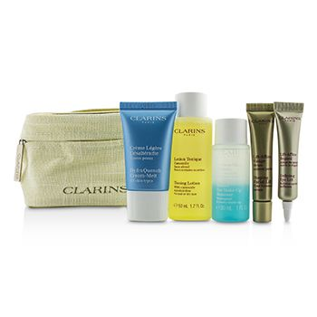 Clarins Travel Set: Toning Lotion 50ml+Eye Make Up Remover 30ml+HydraQuench Cream 15ml+Contouring Serum 10ml+Defining Eye Lift 8ml